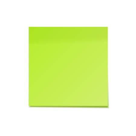 Nota adhesiva realista con sombra. Papel verde. Mensaje en papel de carta. Recordatorio. Ilustración vectorial