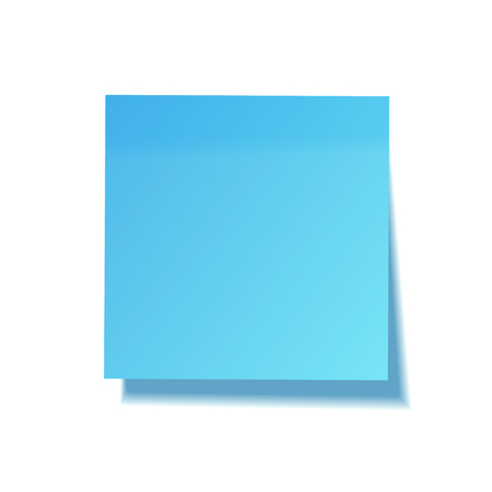 Realistic sticky note with shadow. Blue paper. Message on notepaper. Reminder. Vector illustration. Illustration