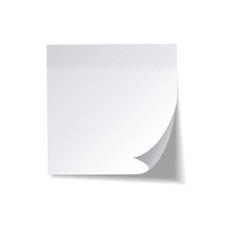 Realistic sticky note. White paper. Message on notepaper. Reminder. Eps10 vector