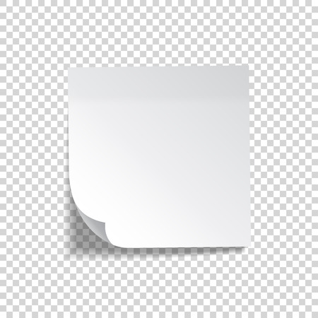 Realistic sticky note. White paper. Message on notepaper. Reminder. Eps10 vector Ilustración de vector