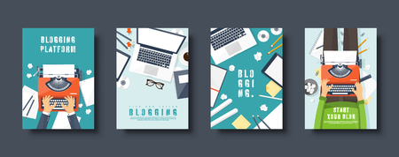 Conjunto de portadas de estilo plano para blogs. Crea tu blog, vlog. Máquina de escribir con manos. Ilustración vectorial