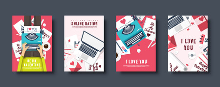 Flat covers set. Love and hearts. Valentines day. Be my valentine. 14 February. Vector illustration. Holiday card.