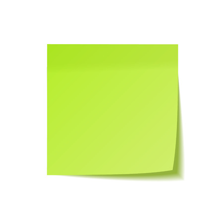 Realistic sticky note with shadow. Green paper. Message on notepaper. Reminder. Vector illustration Çizim