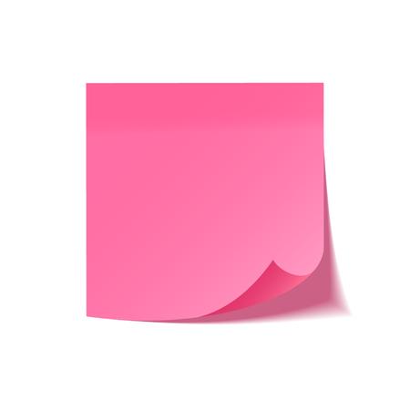 Realistyczna karteczkę z cieniem. Różowy papier. Wiadomość na papierze. Przypomnienie. Ilustracja wektorowa
