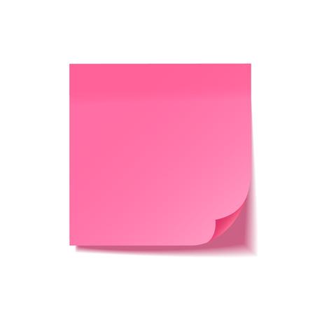 Nota adhesiva realista con sombra. Papel rosa. Mensaje en papel de carta. Recordatorio. Ilustración vectorial