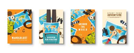 Zestaw okładek płaskich podróży i turystyki. Nawigacja po mapie świata, ziemi. Podróż, wakacje w okresie letnim. Podróżowanie, odkrywanie świata. Ilustracja wektorowa.