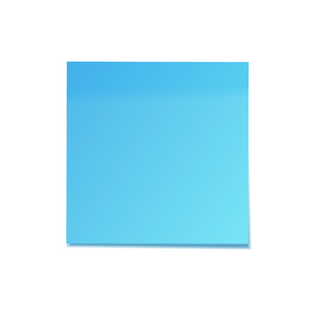 Realistic sticky note with shadow. Blue paper. Message on notepaper. Reminder. Vector illustration.