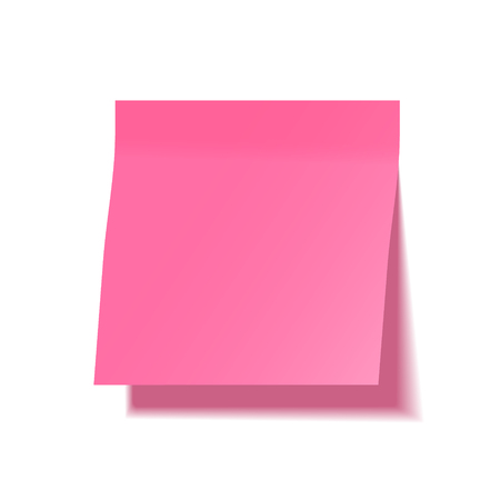 Realistic sticky note with shadow. Pink paper. Message on notepaper. Reminder. Vector illustration Illustration