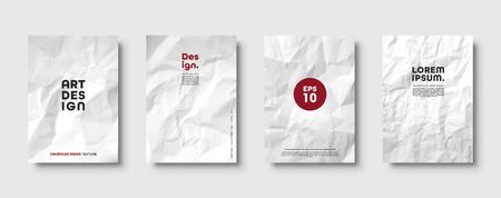 Motif de texture de papier blanc froissé. Ensemble de couvertures minimales. Grunge rugueux vieux blanc. Abstrait de vecteur