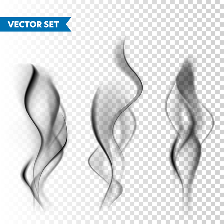 Realistic cigarette smoke set isolated on transparent
