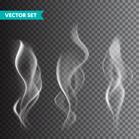 Realistic cigarette smoke set isolated on transparent background. Vector vapor in air, steam flow. Fog, mist effect 版權商用圖片 - 128182934