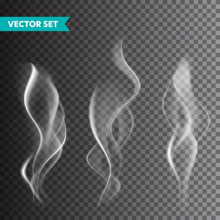 Realistyczny zestaw dymu papierosowego na przezroczystym tle. Para wektorowa w powietrzu, przepływ pary. Mgła, efekt mgły
