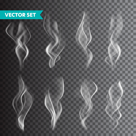 Insieme realistico del fumo di sigaretta isolato su sfondo trasparente. Vapore vettoriale in aria, flusso di vapore. Nebbia, effetto foschia Vettoriali