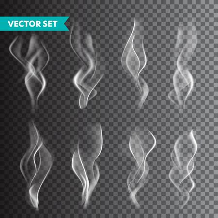 Realistische sigarettenrook set geïsoleerd op transparante achtergrond. Vectordamp in lucht, stoomstroom. Mist, neveleffect Vector Illustratie