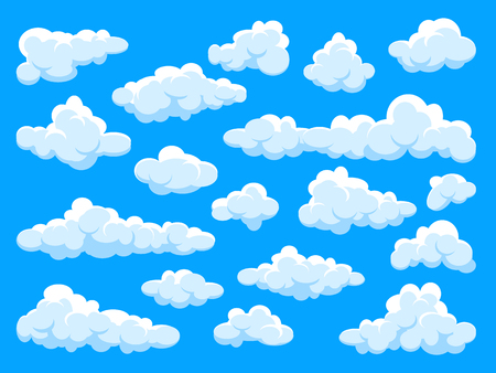 White clouds set. Abstract  blue summer sky. Simple cartoon cloud.