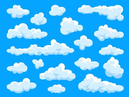 Ensemble de nuages blancs. Ciel d'été bleu abstrait. Nuage de dessin animé simple.