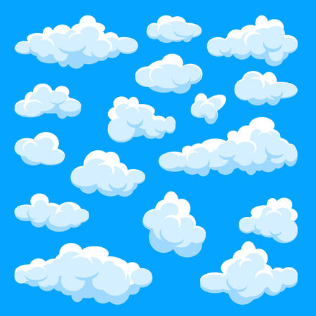 White clouds set. Abstract  blue summer sky. Simple cartoon cloud. Stok Fotoğraf - 124263969