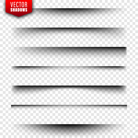 Vector shadows set. Page dividers on transparent background. Realistic isolated shadow. Vector illustration Stock Vector - 128182954