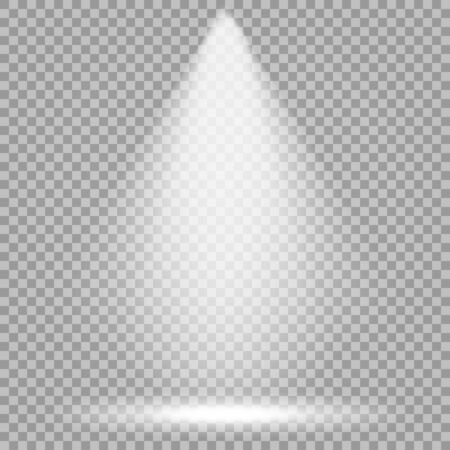 Vector spotlight. Bright light beam. Transparent realistic effect. Stage lighting