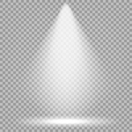Vektor-Scheinwerfer. Heller Lichtstrahl. Transparenter realistischer Effekt. Bühnenbeleuchtung