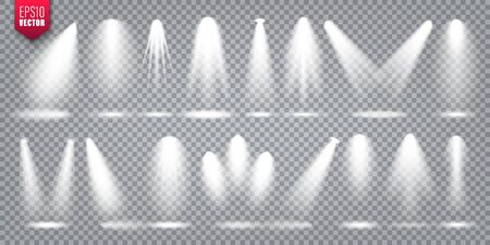 Vector spotlight set. Bright light beam. Transparent realistic effect. Stage lighting. Illustration
