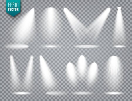 Vector spotlight set. Bright light beam. Transparent realistic effect. Stage lighting Illustration