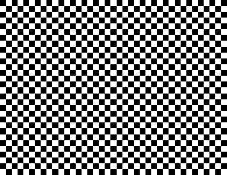 Checkered geometric vector background with black and white tile. Chess board. Racing flag pattern, texture. Ilustração