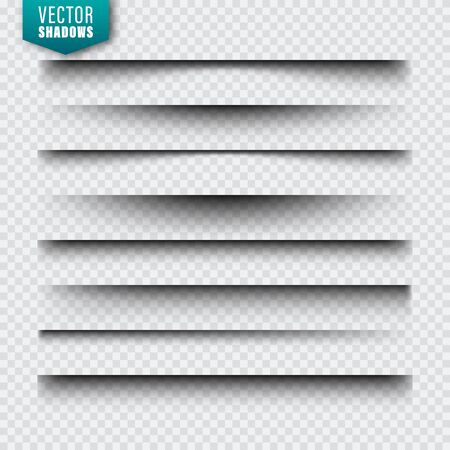 Vektorschatten eingestellt. Seitenteiler auf transparentem Hintergrund. Realistischer isolierter Schatten. Vektor-Illustration Vektorgrafik