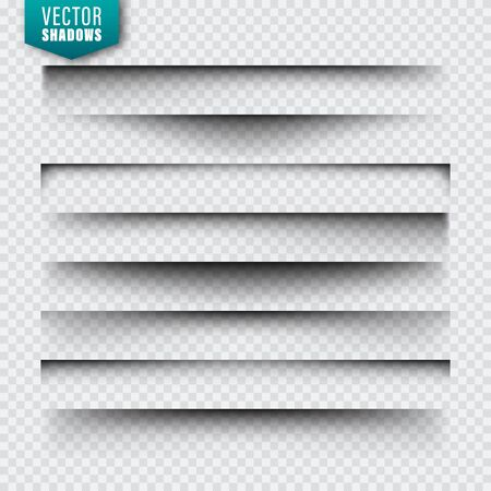 Vector shadows set. Page dividers on transparent background. Realistic isolated shadow. Vector illustration