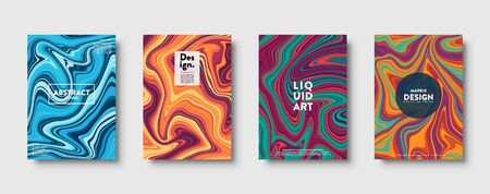 Colorful abstract geometric background. Liquid dynamic lined gradient waves. Fluid marble texture. Modern covers set. Eps10 vector Çizim