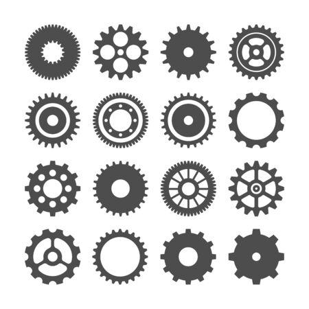 Jeu de roues dentées. Collection de roues dentées vintage rétro. Icônes industrielles. Illustration vectorielle