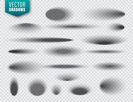 Ombre di vettore impostate su sfondo trasparente. Ombra isolata realistica. Illustrazione vettoriale