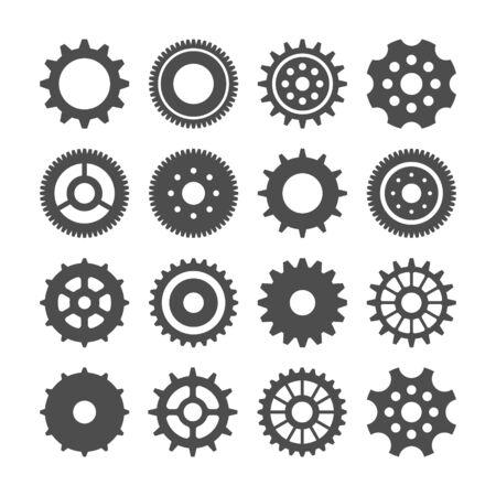 Juego de ruedas dentadas. Colección de ruedas dentadas retro vintage. Iconos industriales. Ilustración vectorial