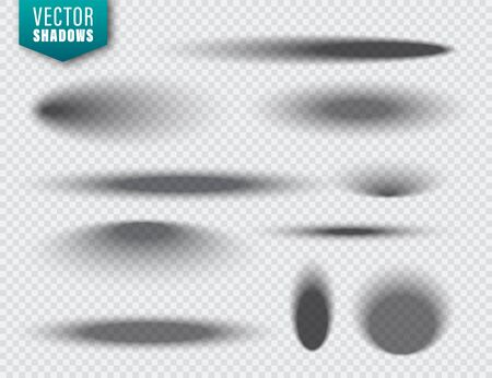 Vector shadows set on transparent background. Realistic isolated shadow. Vector illustration