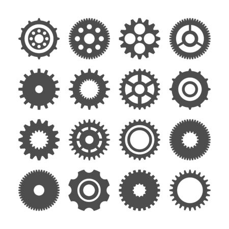 Gear wheels set. Retro vintage cogwheels collection. Industrial icons. Vector illustration.