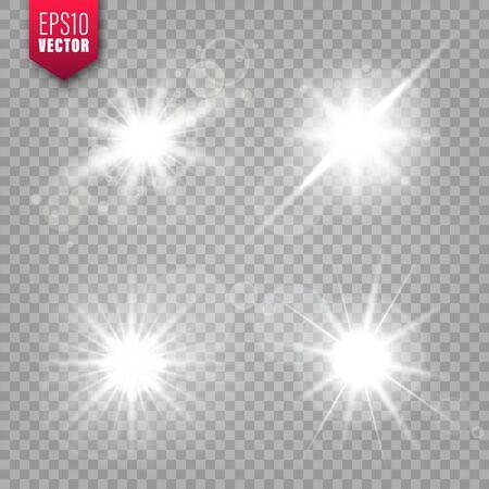 Gloeiende lichten ingesteld op transparante achtergrond. Lensflare-effect. Heldere sprankelende flits, zonlicht. Vector illustratie. Vector Illustratie