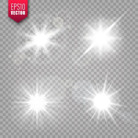 Glowing lights set on transparent background. Lens flare effect. Bright sparkling flash, sunlight. Vector illustration.