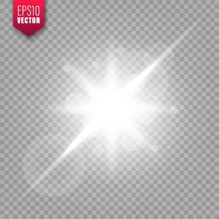 Glowing lights set on transparent background. Lens flare effect. Bright sparkling flash, sunlight. Vector illustration.