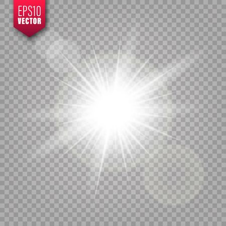 Luci incandescenti impostate su sfondo trasparente. Effetto riflesso lente. Flash scintillante luminoso, luce solare. Illustrazione vettoriale. Vettoriali