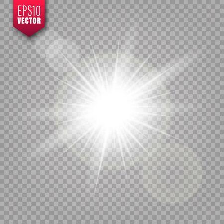 Glowing lights set on transparent background. Lens flare effect. Bright sparkling flash, sunlight. Vector illustration. Illustration