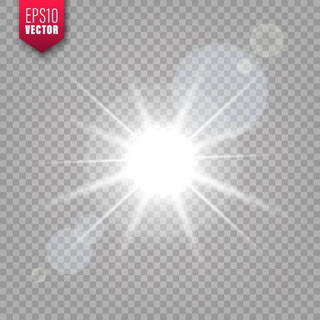 Lumière rougeoyante sur fond transparent. Effet de lumière parasite. Flash étincelant brillant, lumière du soleil. Illustration vectorielle.