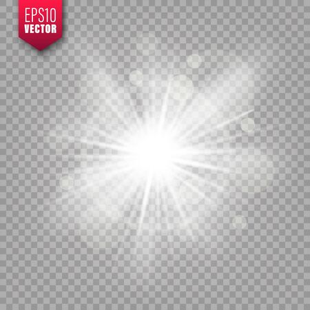 Glowing light on transparent background. Lens flare effect. Bright sparkling flash, sunlight. Vector illustration.