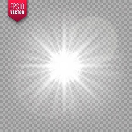 Glowing light on transparent background. Lens flare effect. Bright sparkling flash, sunlight. Vector illustration.