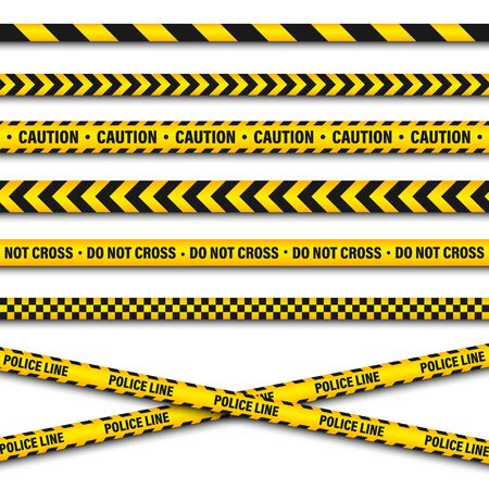 Yellow And Black Barricade Construction Tape. Police Warning Line. Brightly Colored Danger or Hazard Stripe. Vector illustration.