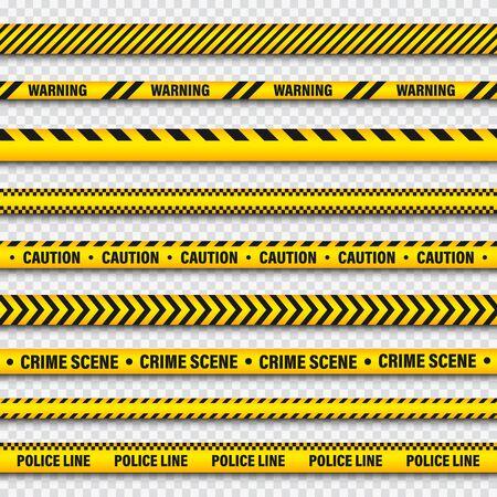 Nastro di costruzione di barricate gialle e nere su sfondo trasparente. Linea di avvertimento della polizia. Striscia di pericolo o pericolo dai colori vivaci. Illustrazione vettoriale.