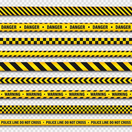 Yellow And Black Barricade Construction Tape On Transparent Background. Police Warning Line. Brightly Colored Danger or Hazard Stripe. Vector illustration. Ilustracja