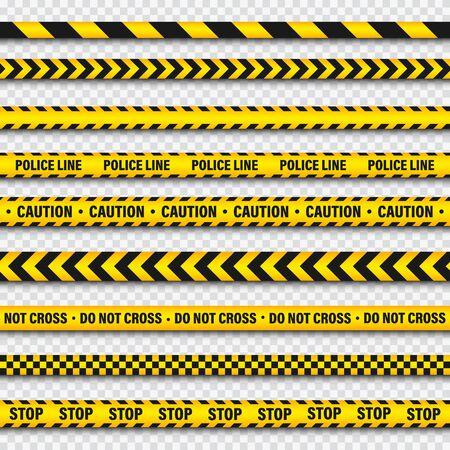 Cinta de construcción de barricada amarilla y negra sobre fondo transparente. Línea de alerta policial. Peligro o franja de peligro de colores brillantes. Ilustración de vector.