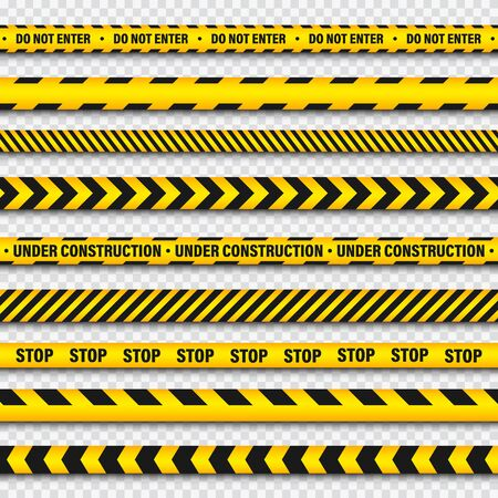 Yellow And Black Barricade Construction Tape On Transparent Background. Police Warning Line. Brightly Colored Danger or Hazard Stripe. Vector illustration. Illustration