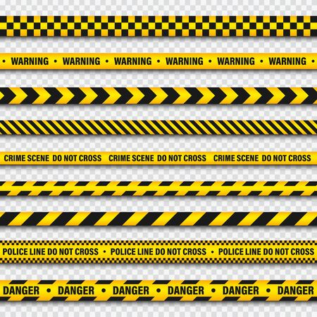 Yellow And Black Barricade Construction Tape On Transparent Background. Police Warning Line. Brightly Colored Danger or Hazard Stripe. Vector illustration. Illusztráció