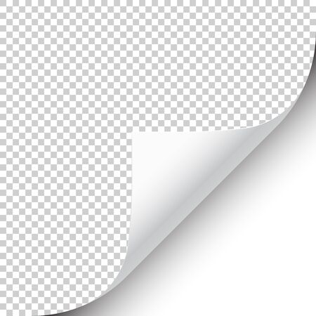 Curled page corner with shadow on transparent background. Blank sheet of paper. Vector illustration
